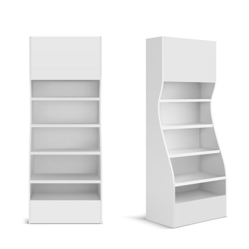 white pos display stand for products in supermarket stor 1