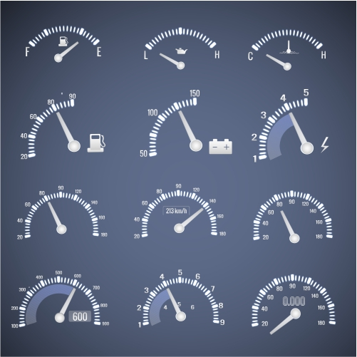 white speedometer interface icon set with dials showing level fuel oil speed vector illustration 1