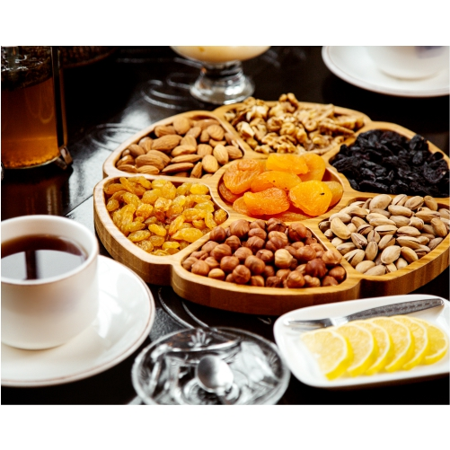 wooden plate with dried fruits nuts 1