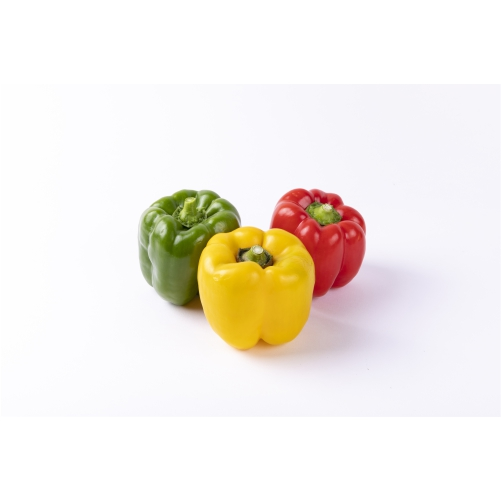 yellow red green bulgarian pepper isolated white table 1
