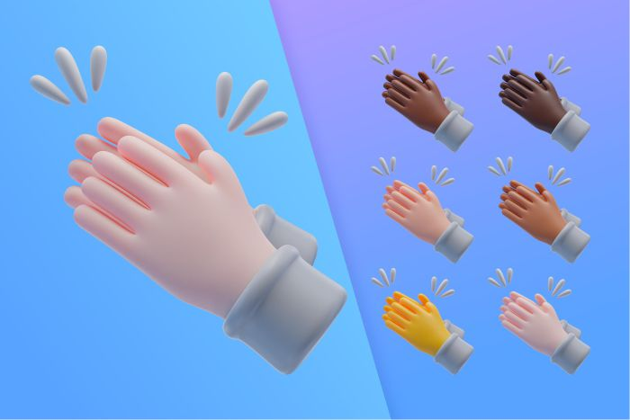 3d collection with hands applauding