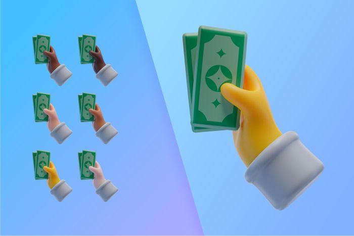 3d collection with hands holding banknotes