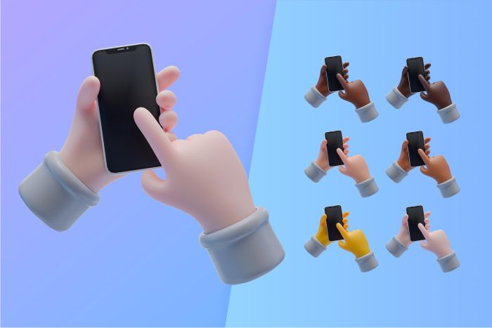 3d collection with hands holding smartphone 2