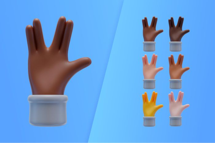 3d collection with hands making alien greeting