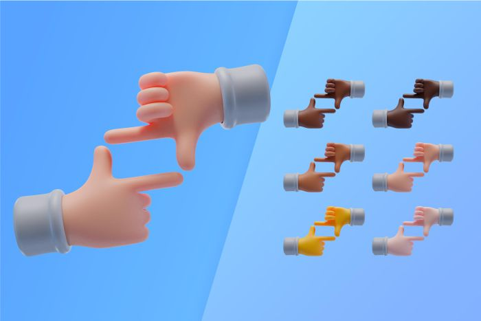 3d collection with hands making frame symbol