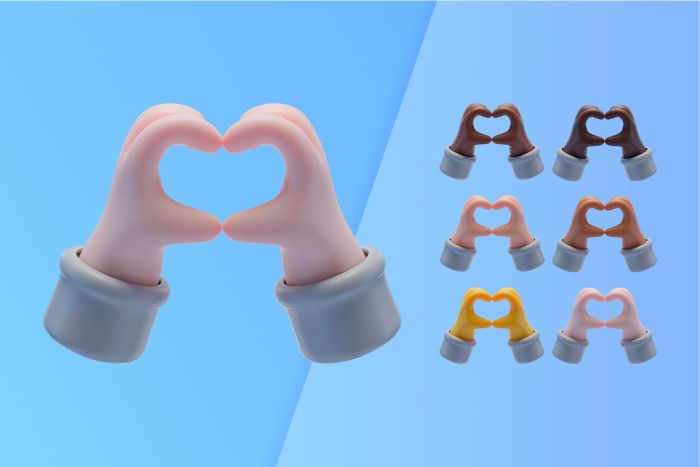 3d collection with hands making heart symbol