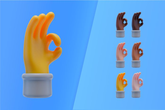 3d collection with hands making ok sign