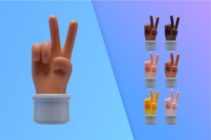 3d collection with hands making peace sign