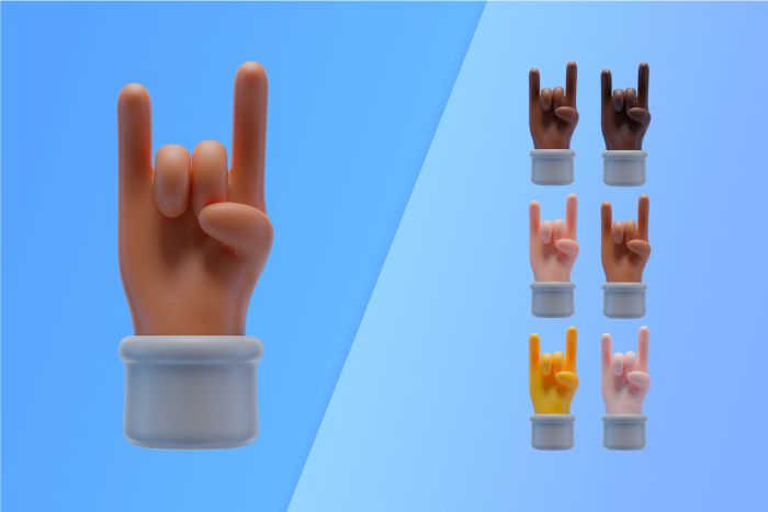 3d collection with hands making rock and roll sign