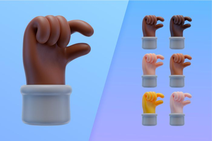 3d collection with hands making small sign