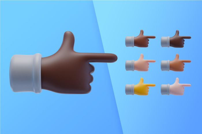 3d collection with hands pointing index finger side
