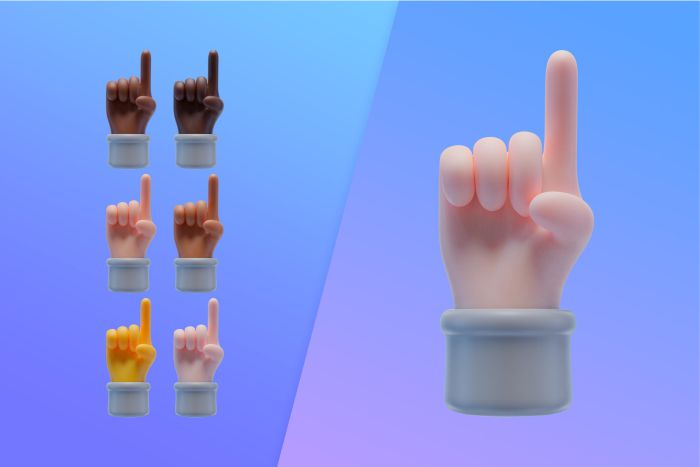 3d collection with hands pointing index finger up