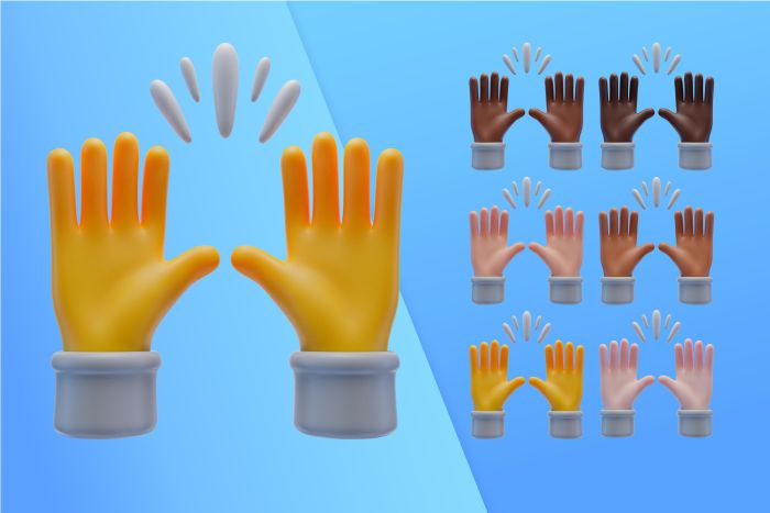 3d collection with hands praising