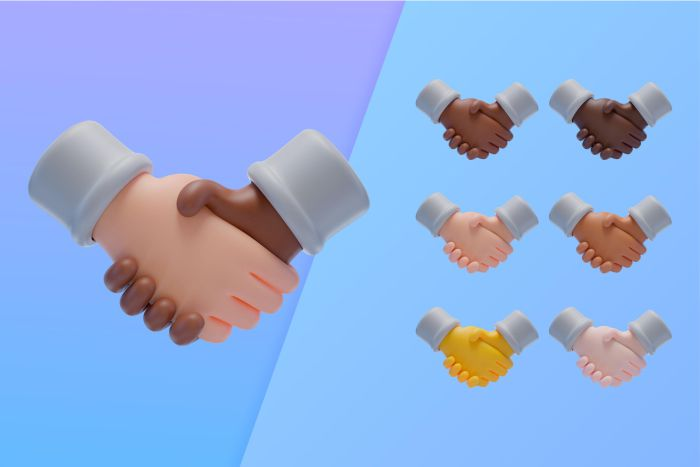 3d collection with hands shaking agreement