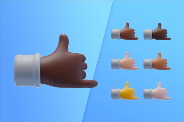 3d collection with hands showing cool sign
