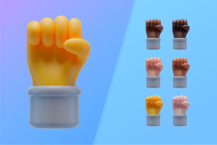 3d collection with hands showing fist