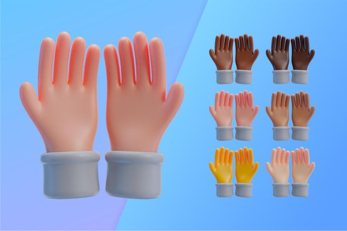 3d collection with hands showing palms together