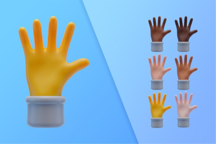 3d collection with hands showing palms