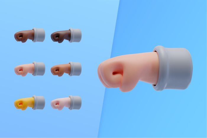 3d collection with hands showing punch