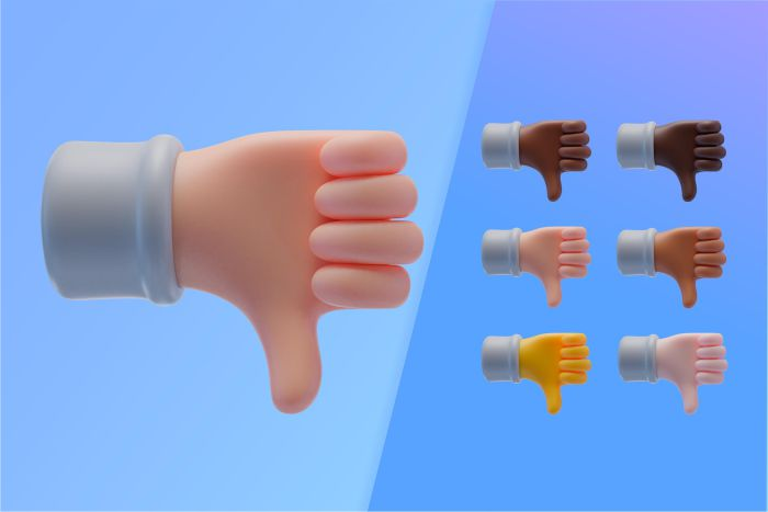 3d collection with hands showing thumbs down
