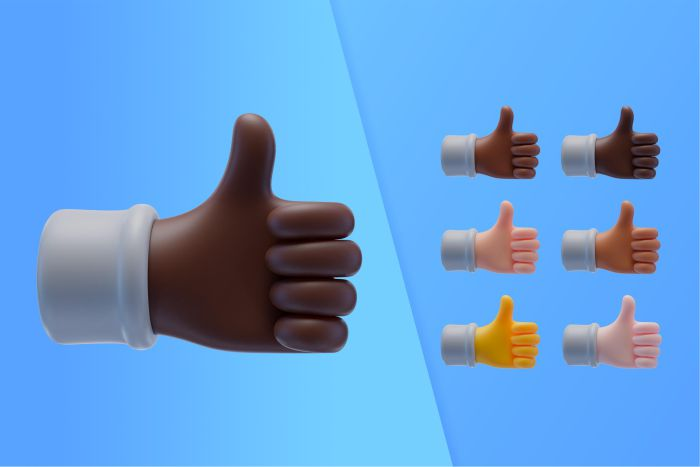 3d collection with hands showing thumbs up