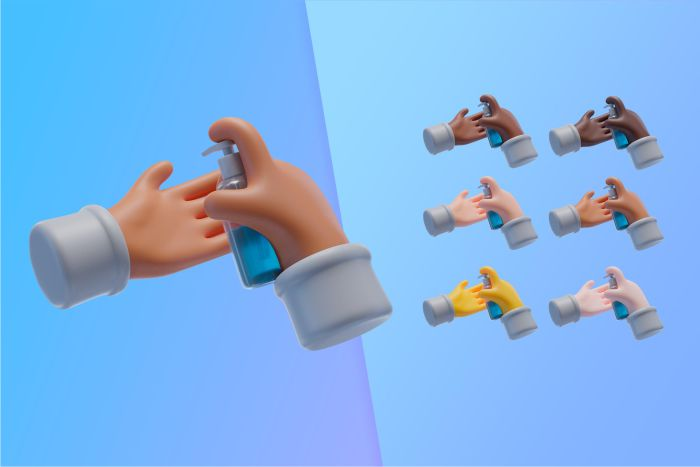 3d collection with hands using hand sanitizer
