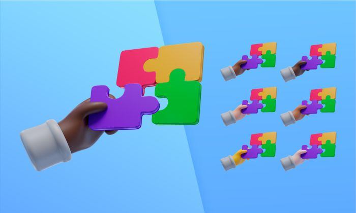 3d collection with hands using puzzle pieces