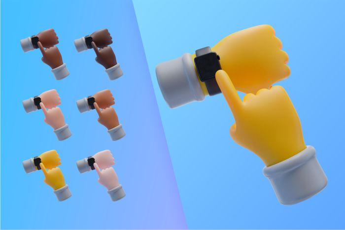 3d collection with hands with wristwatch