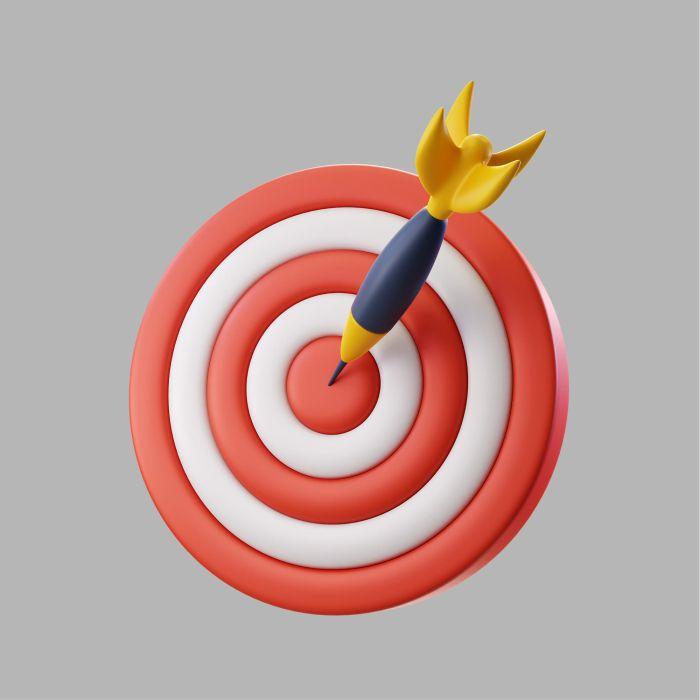 3d dart board target with bullseye arrow