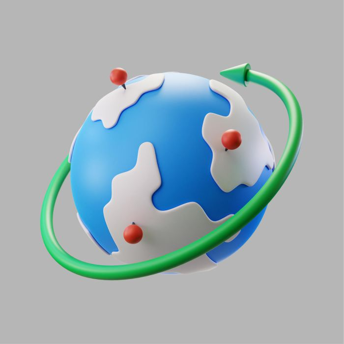 3d earth globe with pinpoints rotation arrow