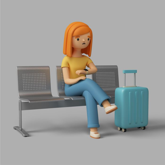3d female character checking time while sitting airport