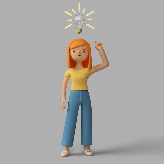 3d female character having an idea