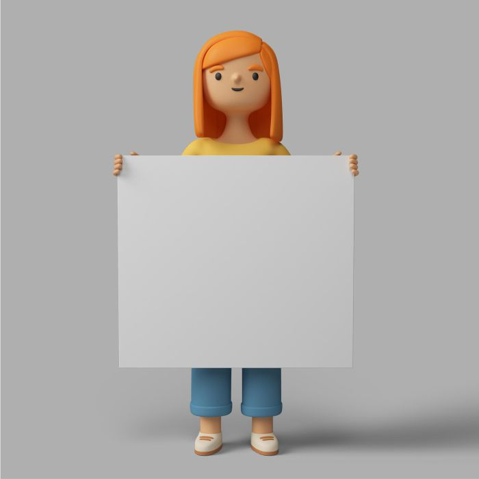 3d female character holding blank placard