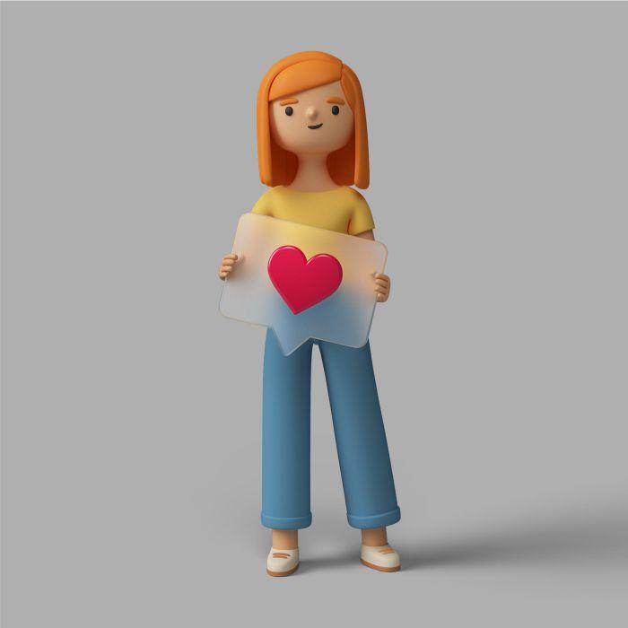 3d female character holding social media heart button