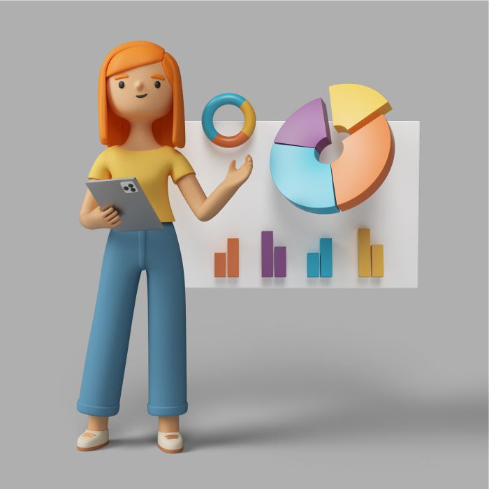 3d female character holding tablet pointing pie chart
