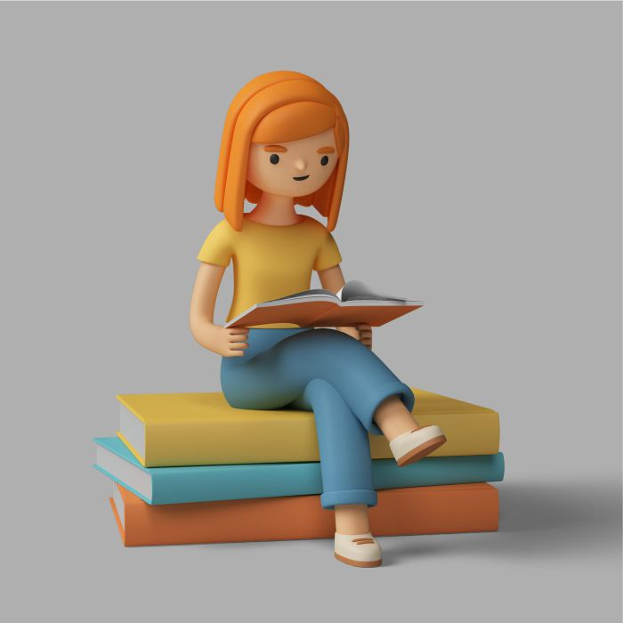 3d female character reading a book
