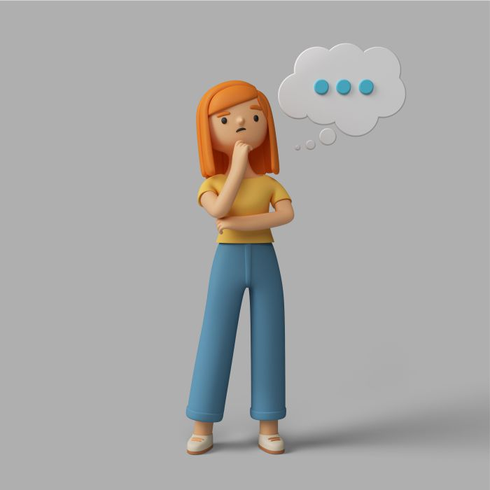 3d female character thinking about something