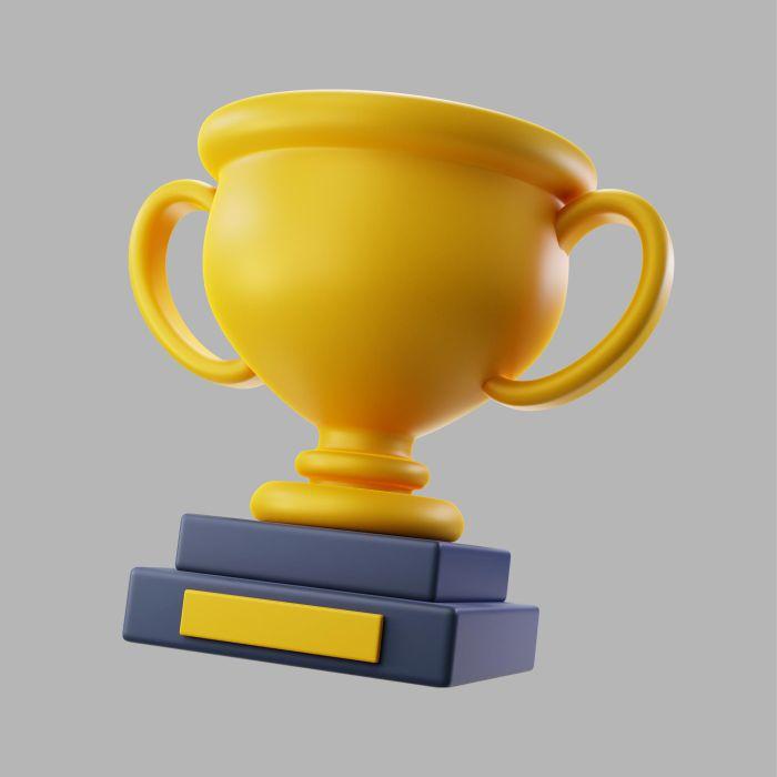 3d golden winning trophy