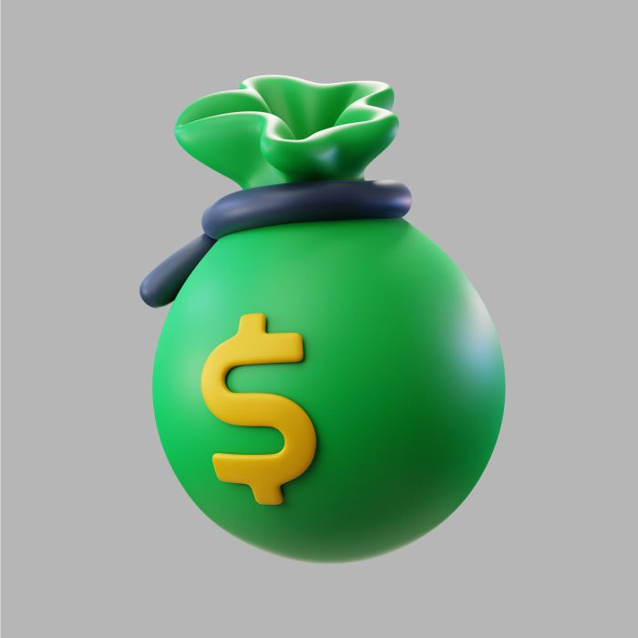 3d green bag money with dollar sign
