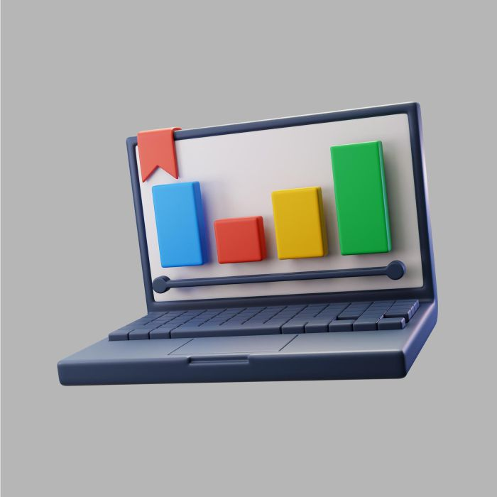 3d laptop with graph