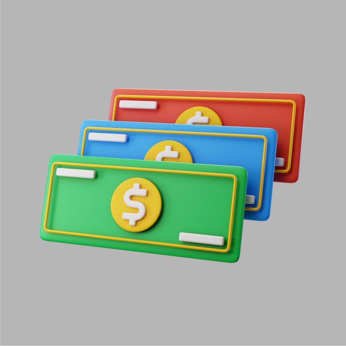 3d paper dollar bills