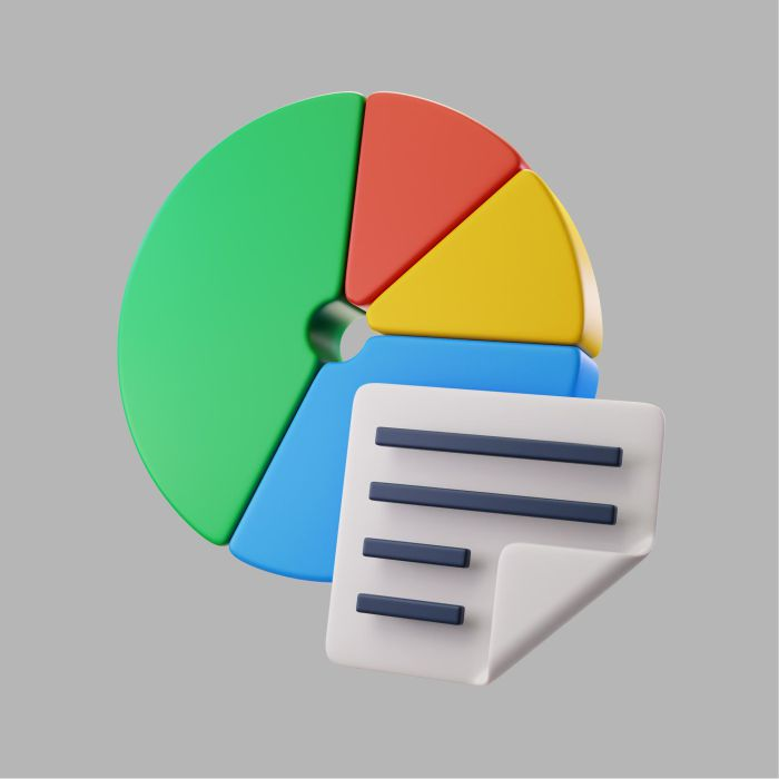 3d pie chart with information