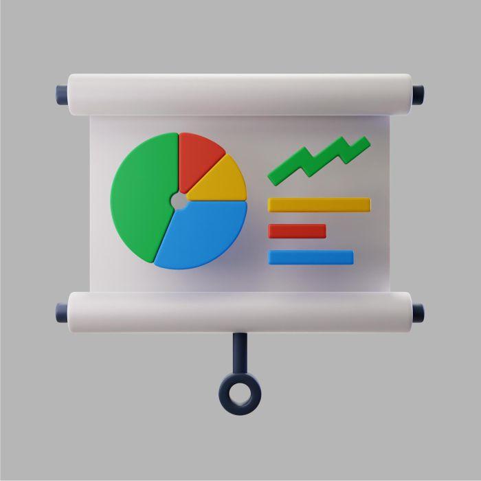 3d presentation with pie chart statistics