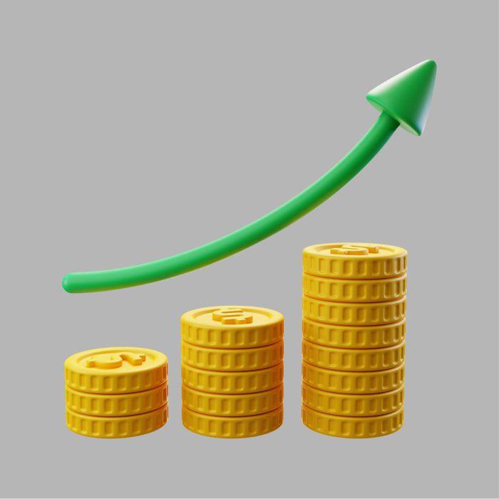3d stacks dollar coins with growth arrow