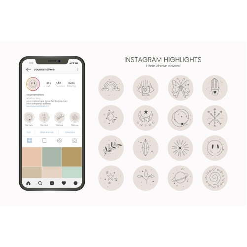 hand drawn instagram highlights collection 8 1