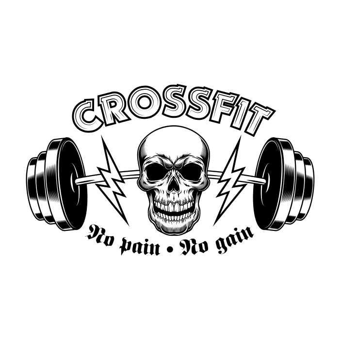 athletic gym crossfit vintage emblem bodybuilder skull with barbell 1