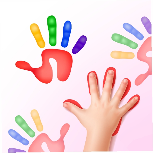 baby hand with colorfull hand prints 1