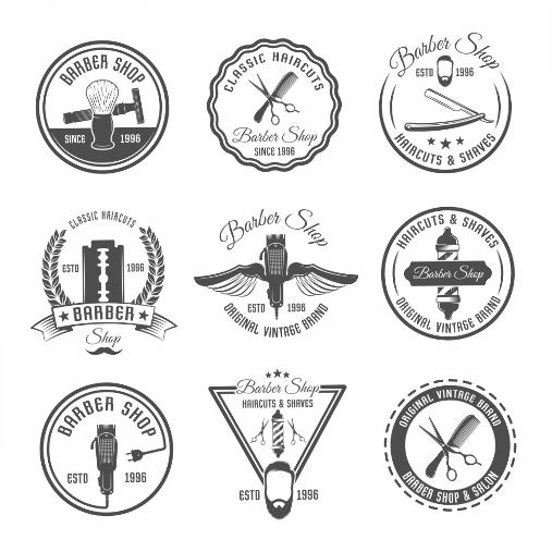 barber emblem label set 1