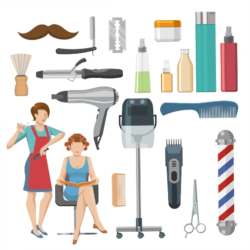 beauty salon decorative elements set 1