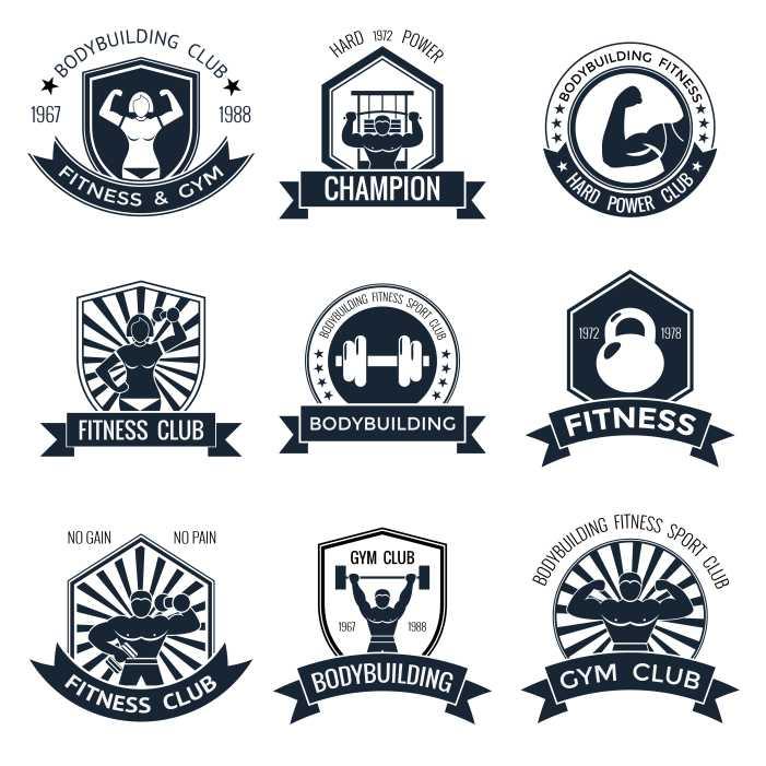 bodybuilding emblems set 1